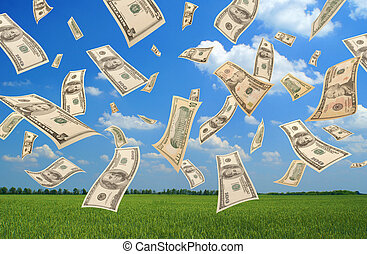 Falling dollars field background