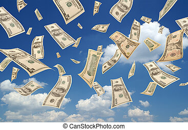 Falling dollars sky background