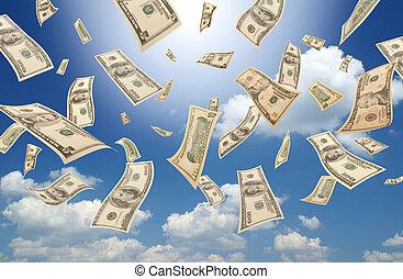 Falling dollars sunny sky - Falling dollars sunny sky...