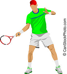 tenis, jugador, coloreado, vector, Ilustración,...