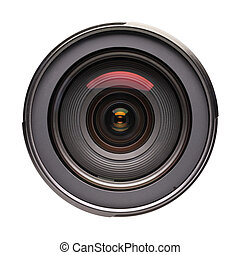 Front view on photo lens (isolated) - Front view of photo...