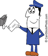 mailman delivering mail to home mailbox