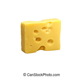 Emmentaler cheese Isolated - Piece of Emmentaler cheese on...