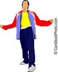 Young man in a tracksuit Vector illustration on white...