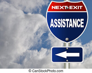 Assistance road sign