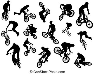 Black silhouettes of riders - Black silhouettes of bmx and...