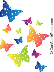 Swarm of Color Butterflies on white