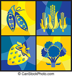 vegetables color cross - collection of vector images of...
