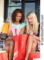girls ecstatic after shopping frenzy
