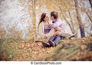 happy couple - low contrast image of a happy romantic young...