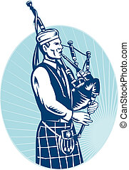 gaitero, juego, escocés, grande, tierras altas, gaita