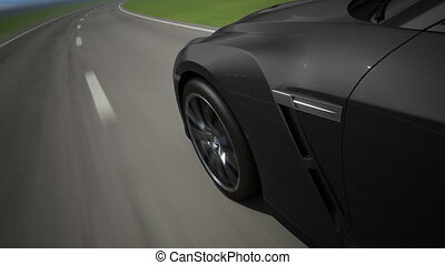 Black sport car moving on the road, loop-ready, high quality...
