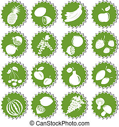 Set of fruits Element of design for sticker - Set of fresh...