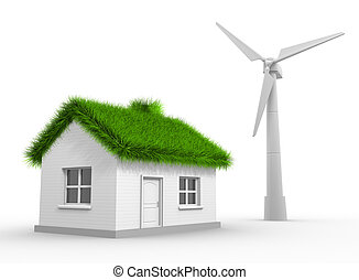 Wind turbine - A wind turbine and a house with a grass roof....