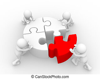 Puzzle - 3d people - human character - person and last piece...