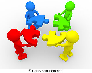 Puzzle - 3d people - human character - person and pieces...
