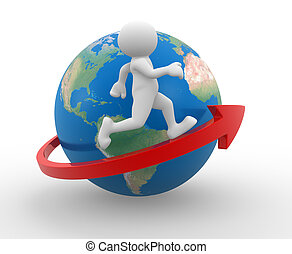 Earth globe - 3d people - human character , person running...