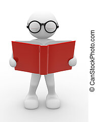 Open book - 3d people - human character, person with...