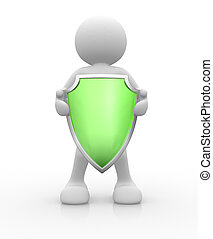 Shield - 3d people - human character, person with a shield...