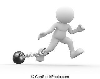 Prisoner - 3d people - human character, person with a chain...