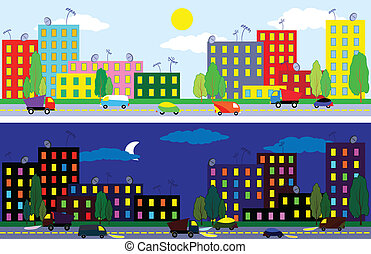 City night and day - Cartoon city of night and day time ,...