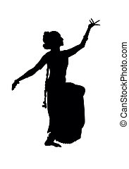 Indian dancing - Black silhouette of dancer from india...