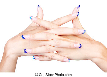 blue french manicure - hands with woman's professional...