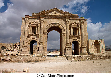 Ancient Jerash Ruins of the Greco-Roman city of Gera at...
