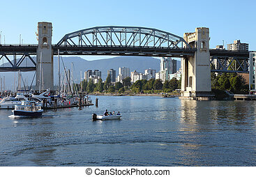 The Burrard bridge and False creek, Canada.