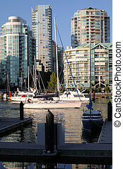 Granville skyscrapers and sailboats, Canada. - Granville...