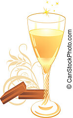 Candies and glass with champagne