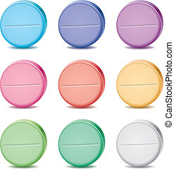 vector set of colorful pills