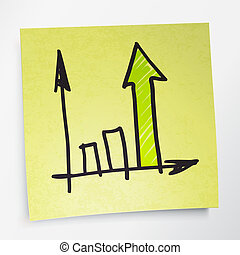 Successful business graph on yellow sticky paper. Vector illustration. EPS10.