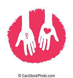Key and heart as a gift. Valentines day logo design, vector...