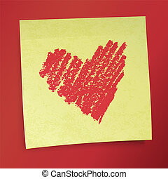 Yellow sticky note with Valentine`s heart. Vector illustration, EPS10.