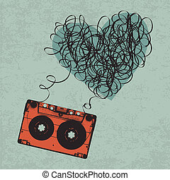 Vintage audiocassette illustration with heart shaped messy tape. Vector, Eps10