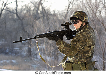 Soldier with a sniper rifle