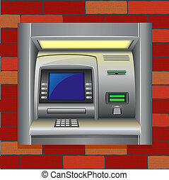 atm on a brick wall vector illustration