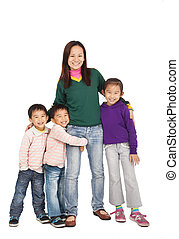 Happy Asian Mother with her family