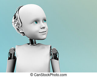 The face of a child robot - A robot child gazing into the...