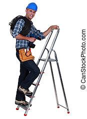 An electrician climbing a ladder.