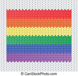 knitted rainbow flag - Knitted rainbow flag pattern. EPS10...