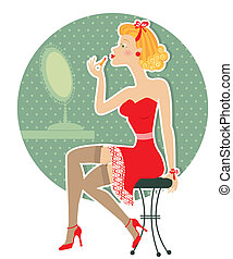 Retro woman and make up lipstick - Retro nice woman and make...