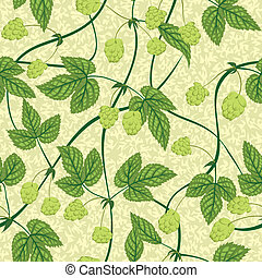 hop seamless background - vector hop with leaf seamless...