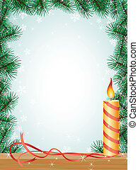 christmas fir branches frame candle ribbon