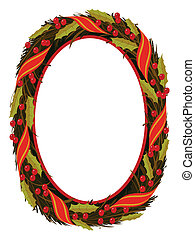 christmas holly wreath frame pattern