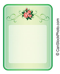 frame with roses pattern background