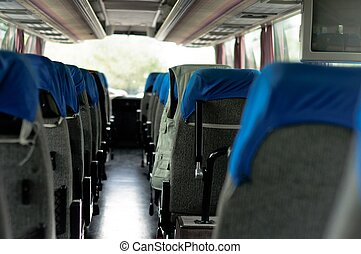 Interior of a bus with many seats