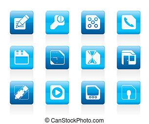 Mobile Phone, Computer and Internet Icons - Vector Icon Set...
