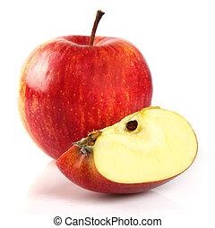 fatia, maçã, vermelho